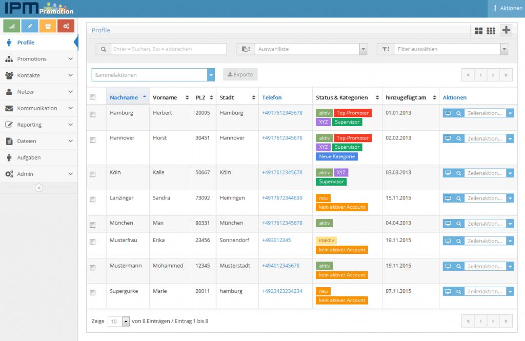 Die Profilverwaltung von iPM_Promotion